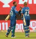 Axar Patel and Shikhar Dhawan celebrate a job well done, Delhi Capitals vs Chennai Super Kings, IPL 2020, Sharjah, October 17, 2020