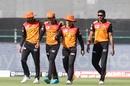 Manish Pandey, Priyam Garg, David Warner and Basil Thampi - a happy bunch after Garg's diving catch, Sunrisers Hyderabad vs Kolkata Knight Riders, IPL 2020, Abu Dhabi, October 18, 2020