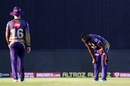 Uh oh... one of the most worrying sights for Eoin Morgan - Andre Russell looks like he's injured himself, Sunrisers Hyderabad vs Kolkata Knight Riders, IPL 2020, Abu Dhabi, October 18, 2020