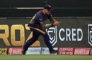 Lockie Ferguson takes the ball at the boundary as he's about to step over, before flicking it back for a relay catch, Sunrisers Hyderabad vs Kolkata Knight Riders, IPL 2020, Abu Dhabi, October 18, 2020
