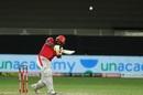 Chris Gayle puts one away in the second Super Over, Mumbai Indians vs Kings XI Punjab, IPL 2020, Dubai, October 18, 2020