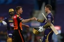 Fist bumps at the end, with Super Over done - Eoin Morgan and David Warner, Sunrisers Hyderabad vs Kolkata Knight Riders, IPL 2020, Abu Dhabi, October 18, 2020