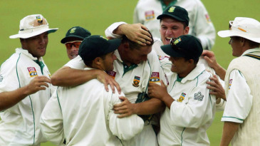 Team-mates celebrate Andre Nel's wicket of Brian Lara