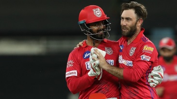 KL Rahul and Glenn Maxwell get together after a wicket