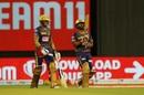 Shubman Gill and Rahul Tripathi walk out to bat, Kolkata Knight Riders vs Royal Challengers Bangalore, IPL 2020, Abu Dhabi, October 21, 2020