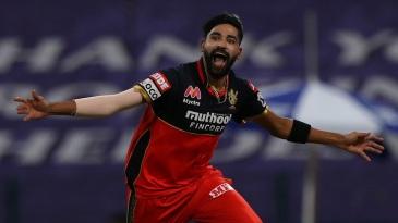 Mohammed Siraj takes off in celebration