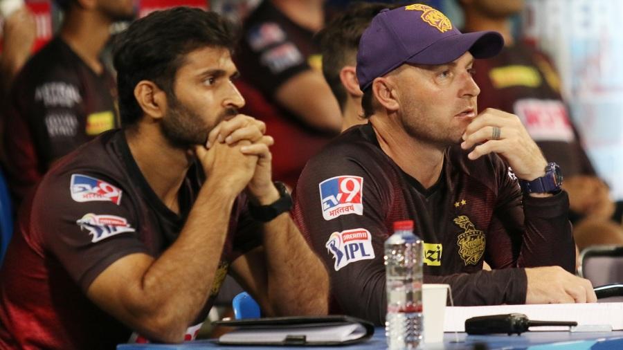 Coaches Brendon McCullum and Abhishek Nayar look on