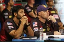 Coaches Brendon McCullum and Abhishek Nayar look on, Kolkata Knight Riders vs Royal Challengers Bangalore, IPL 2020, Abu Dhabi, October 21, 2020