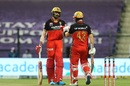 Devdutt Padikkal and Aaron Finch punch gloves during their stand, Kolkata Knight Riders vs Royal Challengers Bangalore, IPL 2020, Abu Dhabi, October 21, 2020