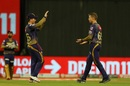 Eoin Morgan congratulates Lockie Ferguson for a wicket, Kolkata Knight Riders vs Royal Challengers Bangalore, IPL 2020, Abu Dhabi, October 21, 2020