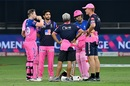 Steven Smith and Riyan Parag have a chat with members of the support staff, Rajasthan Royals vs Sunrisers Hyderabad, IPL 2020, Dubai, October 22, 2020