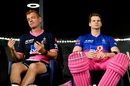 Steven Smith waits for his turn to bat alongside head coach Andrew McDonald, Rajasthan Royals vs Sunrisers Hyderabad, IPL 2020, Dubai, October 22, 2020