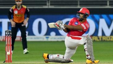 Nicholas Pooran in action in Kings XI Punjab's first game against Sunrisers Hyderabad