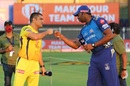 MS Dhoni and Kieron Pollard bump fists during the toss, IPL 2020, Chennai Super Kings vs Mumbai Indians, Sharjah, October 23, 2020