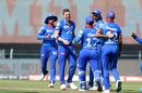 Anrich Nortje is elated after dismissing Shubman Gill, Delhi Capitals vs Kolkata Knight Riders, IPL 2020, Abu Dhabi, October 24, 2020