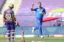 Rahul Tripathi is bowled by Anrich Nortje, Delhi Capitals vs Kolkata Knight Riders, IPL 2020, Abu Dhabi, October 24, 2020