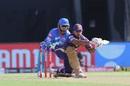 Nitish Rana gets down to play the sweep, Kolkata Knight Riders vs Delhi Capitals, IPL 2020, Abu Dhabi, October 24, 2020