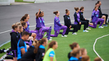Players and staff took the knee before the Adelaide Strikers-Hobart Hurricanes match