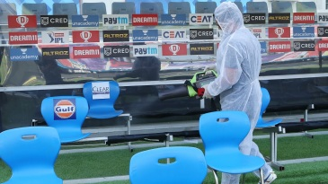 Covid times: The dugout is sanitised before players' arrival