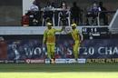 Faf du Plessis and Ruturaj Gaikwad celebrate after effecting a relay catch, Chennai Super Kings vs Royal Challengers Bangalore, IPL 2020, Dubai, October 25, 2020