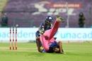 Ankit Rajpoot tumbles while stopping a ball, Mumbai Indians vs Rajasthan Royals, IPL 2020, Abu Dhabi, October 25, 2002