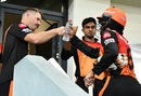 David Warner bumps fists with Wriddhiman Saha after the latter's innings ended just short of a century, Sunrisers Hyderabad vs Delhi Capitals, IPL 2020, Dubai, October 27, 2020