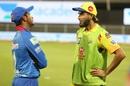 Sandeep Lamichhane and Imran Tahir have a chat at the end of the game, Chennai Super Kings vs Delhi Capitals, IPL 2020, Sharjah, October 17, 2020