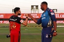 Virat Kohli and Kieron Pollard at the toss, Mumbai Indians vs Royal Challengers Bangalore, Abu Dhabi, IPL 2020, October 28, 2020