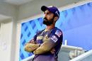 Dinesh Karthik waits for his turn to bat, Chennai Super Kings vs Kolkata Knight Riders, IPL 2020, Dubai, October 29, 2020