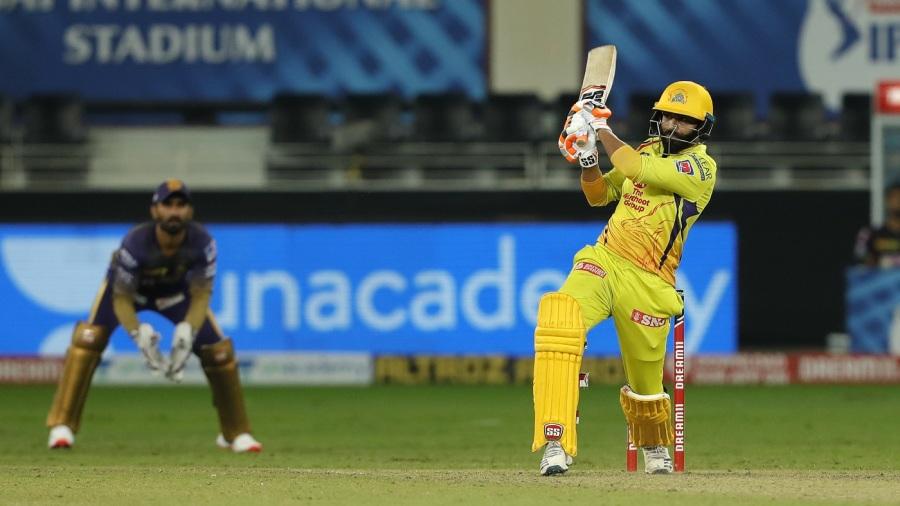 Ravindra Jadeja biffs a short ball away on the leg side