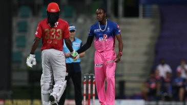 Jofra Archer shakes Chris Gayle's hand after castling him for 99