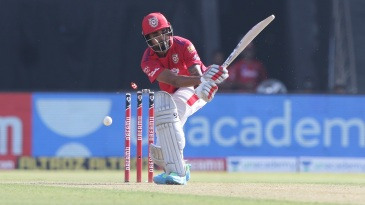 KL Rahul is foxed off a slower delivery
