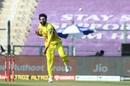 Ravindra Jadeja delivers one from around the wicket, Chennai Super Kings vs Kings XI Punjab, IPL 2020, Abu Dhabi, November 1, 2020