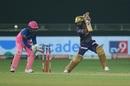 Rahul Tripathi slices one through the off side, Kolkata Knight Riders vs Rajasthan Royals, IPL 2020, Dubai, November 1, 2020