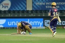 Andre Russell slumps to the floor as he is dismissed, Kolkata Knight Riders vs Rajasthan Royals, IPL 2020, Dubai, November 1, 2020