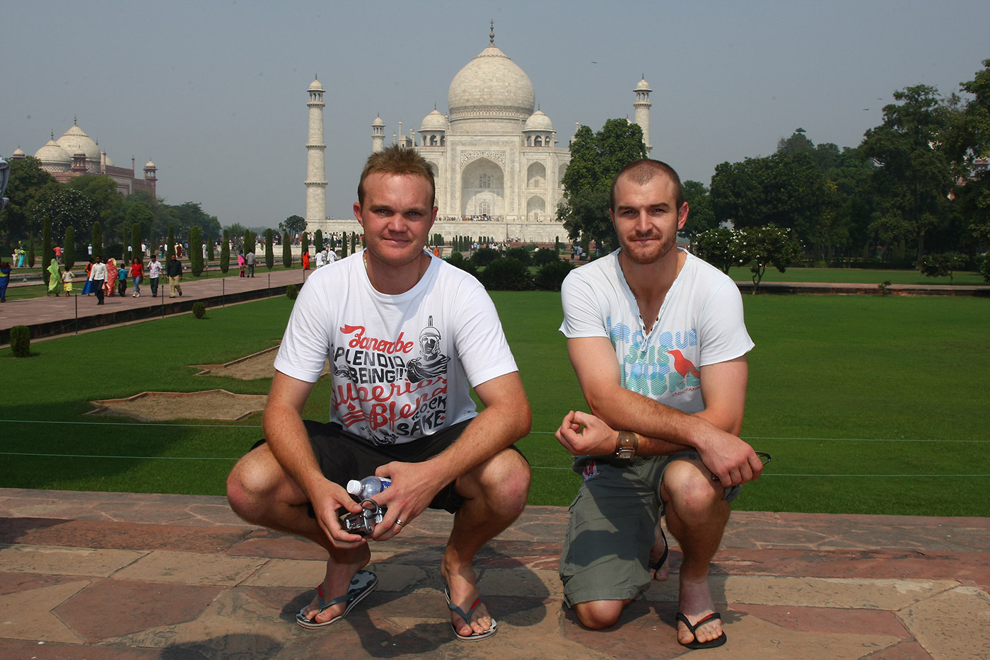 One fast, one slow: Krejza with state and national team-mate Doug Bollinger at the Taj Mahal on the 2008 tour of India