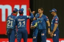 Anrich Nortje is congratulated for a breakthrough, Delhi Capitals vs Royal Challengers Bangalore, IPL 2020, Abu Dhabi, November 2, 2020
