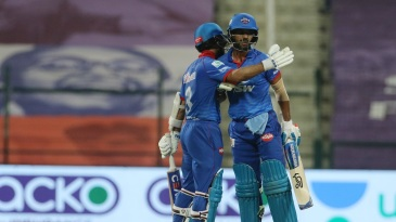 Ajinkya Rahane congratulates Shikhar Dhawan on getting to fifty