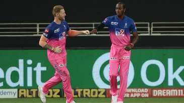 Ben Stokes and Jofra Archer celebrate at the IPL