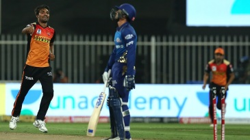 Sandeep Sharma celebrates after splaying Quinton de Kock's stumps