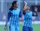 Jemimah Rodrigues and Poonam Yadav before the opening fixture, Supernovas vs Velocity, Women's T20 Challenge, Sharjah, November 4, 2020