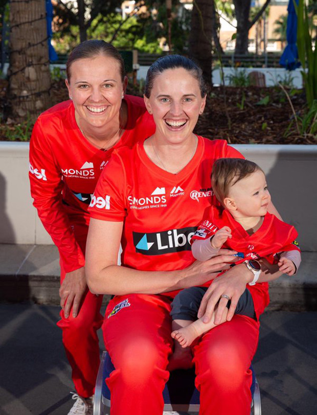 Amy Satterthwaite (right) and Lea Tahuhu with their daughter Grace Marie at this year's WBBL