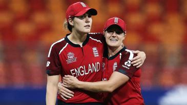 Nat Sciver and Katherine Brunt celebrate a wicket