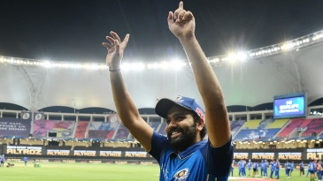 An elated Rohit Sharma gestures after Mumbai Indians make the IPL final