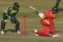 Sean Williams sweeps as Pakistan wicketkeeper Mohammad Rizwan looks on, Pakistan vs Zimbabwe, 1st T20I, Rawalpindi, November 7, 2020