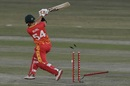 Ryan Burl loses his middle stump while attempting an expansive shot, Pakistan vs Zimbabwe, 1st T20I, Rawalpindi, November 7, 2020