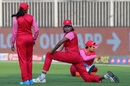 Jhulan Goswami stretches before the game, Trailblazers vs Supernovas, Women's T20 Challenge 2020, Sharjah, November 7, 2020