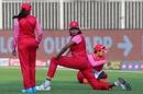 Jhulan Goswami stretches before the game, Trailblazers vs Supernovas, Women's T20 Challenge 2020, Sharjah, November 7, 2020