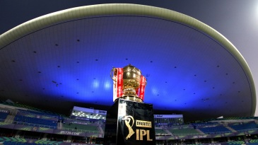 A view of the IPL 2020 trophy on display at the Sheikh Zayed Stadium