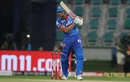 Marcus Stoinis looks on after playing one onto the off side, Delhi Capitals vs Sunrisers Hyderabad, IPL 2020, 2nd Eliminator, Abu Dhabi, November 8, 2020